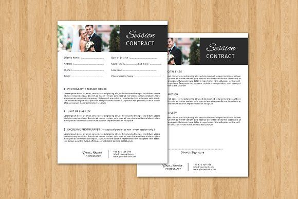 Session Contract form template -V318 by Template Shop on @creativemarket