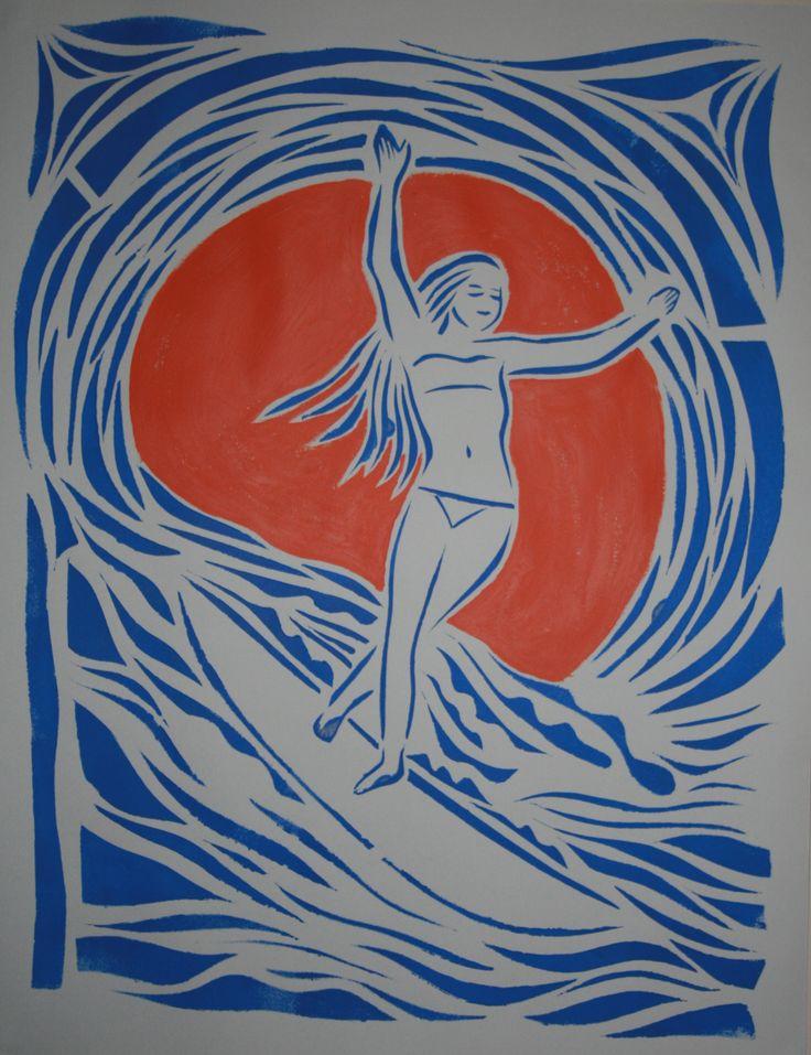 Surfer, stencil art