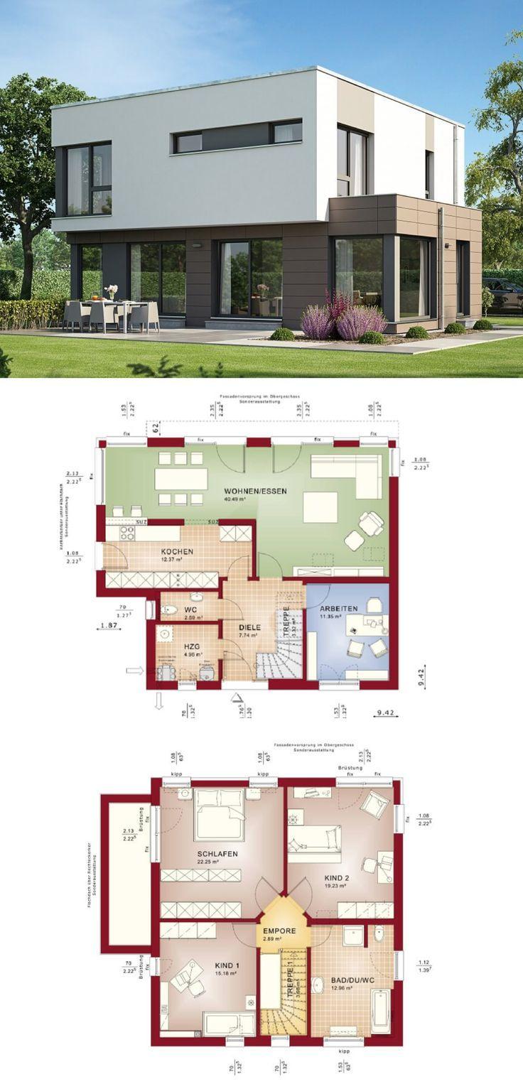 Stadtvilla Bauhausstil | Haus Evolution 143 V10 Bien Zenker | Modernes Architektenhaus Flachdach Grundriss offene Küche Erker Fertighaus | HausbauDirekt.de   – HausbauDirekt