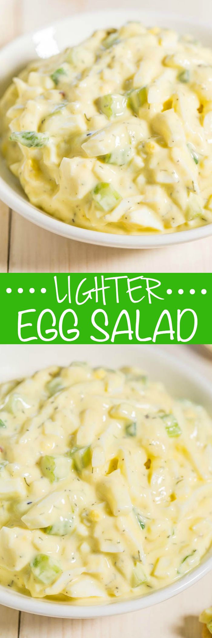 Lighter Egg Salad - All the flavor of traditional egg salad minus the fat and calories! Made with 0% fat Greek yogurt to keep it creamy and wayyy healthier!!