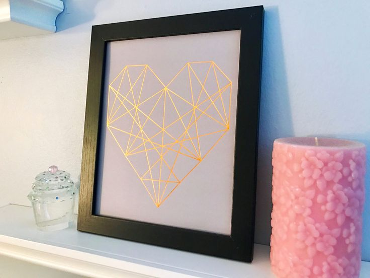 Metallic copper abstract geometric heart print frame - wedding present - bridal decor - mother's day gift - daughter gift - room decor by JuneSixth on Etsy