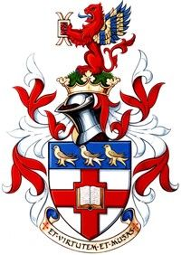 In 2007, the year of the Mill Hill School's Bicentenary, a new Coat of Arms was presented to the school by Robert Noel, Her Majesty's Lancaster Herald.jpg