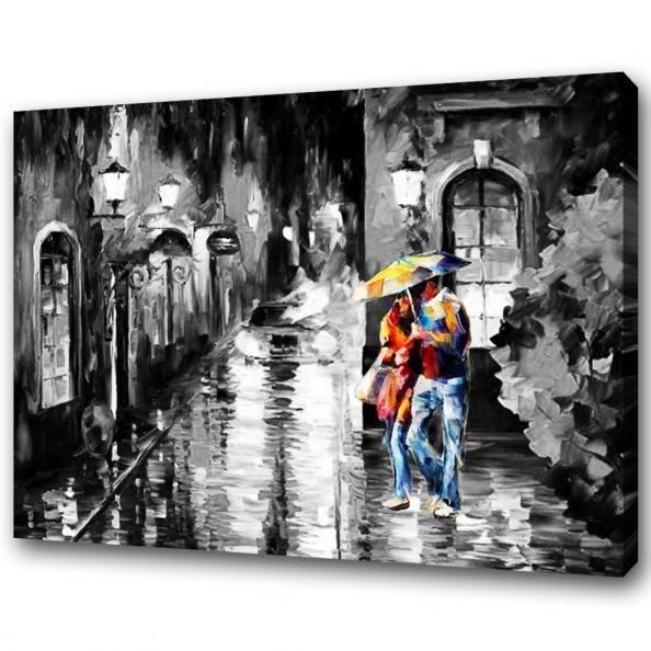 Schilderij romantisch onder Paraplu
