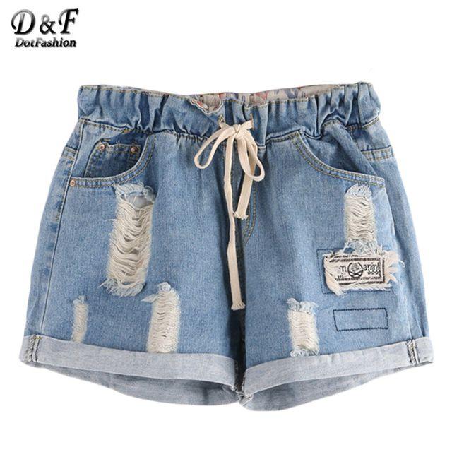 Dotfashion Mulheres Calções de Moda Verão 2016 Mais Recente Cintura Com Cordão Bolsos Duplos Laminados Hem Azul Shorts Jeans Rasgado