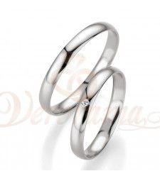 Βέρες γάμου λευκόχρυσες με διαμάντι breuning 4405