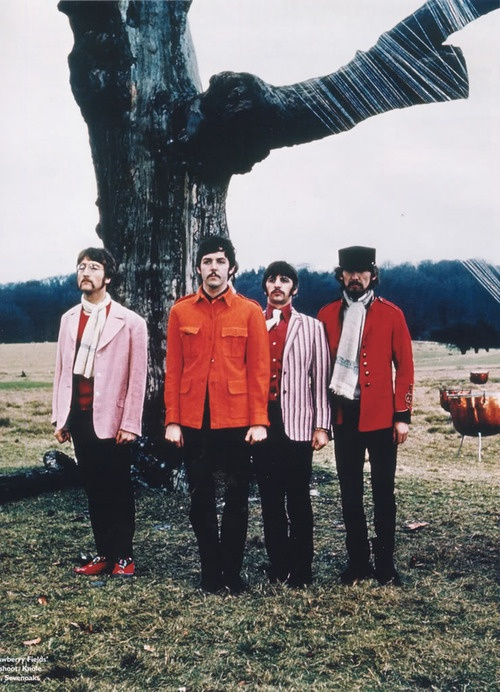 """30th January 1967. The Beatles filming """"Strawberry Fields Forever"""" at Knole Park, Kents"""