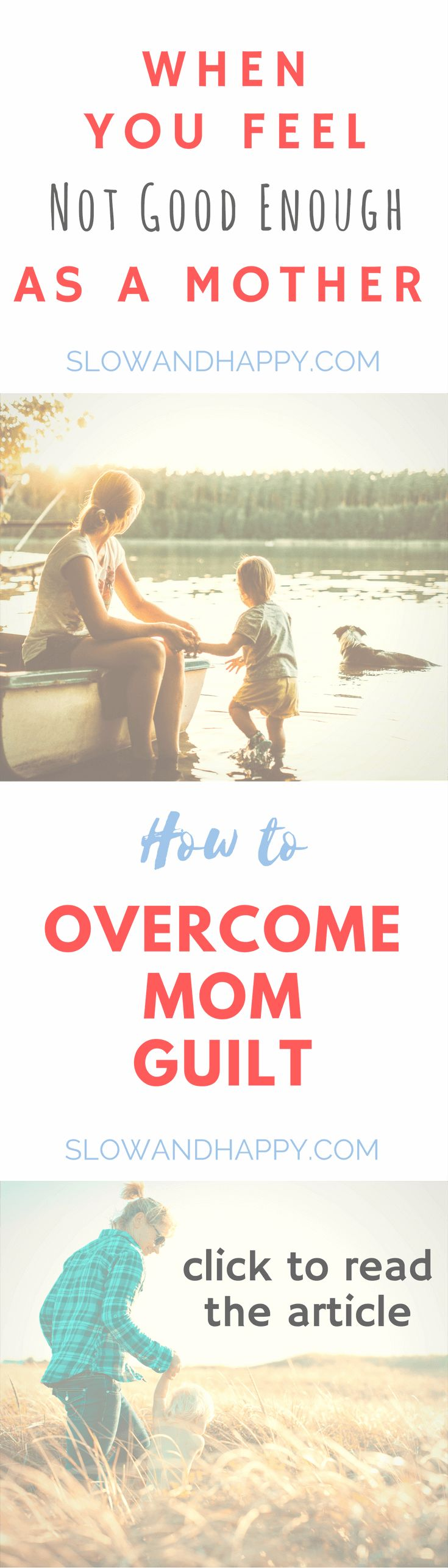 When you feel not good enough as a mother. Ways to overcome mom guilt. Article by a minimalist, slow living mom of two. Don't get depressed if you cannot fulfill other people's expectations about your role as a mother, woman and home manager. Implement my tips and regain the happiness of motherhood. #parenting #motherhood #momguilt #momslife #momblues Click to read the article!