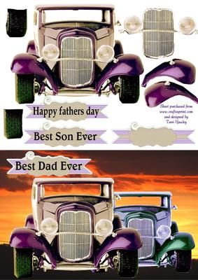 This step by step car, is a male card, has lables, Happy fathers day, best dad ever, best son ever, and a blank lable for what ever reason.