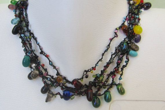 colored beaded necklace by selshe on Etsy