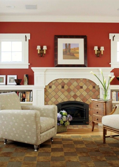 Classic red accent wall warms up a neutral room try for Accent colors for neutral rooms