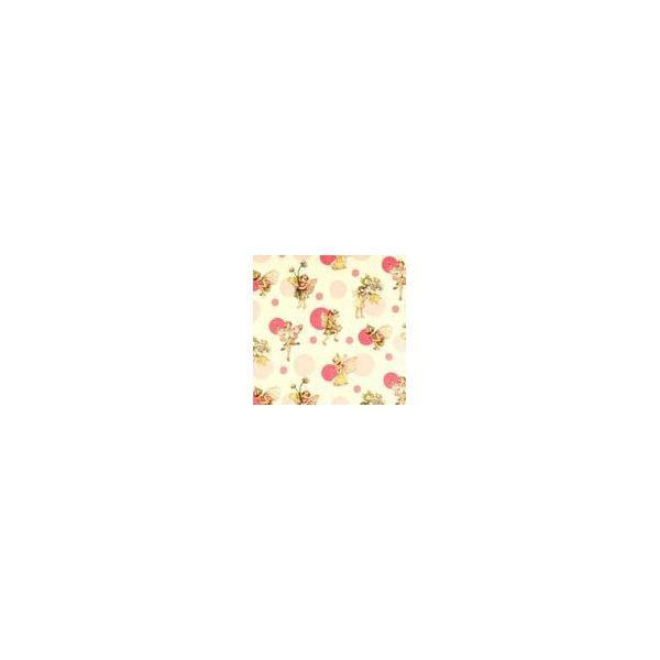 Hadas y circulos rosas sobre blanco