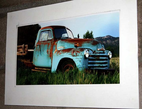 Truck Art Old Farm Truck Print Teal Turquoise Chevy