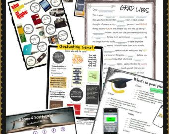Graduation Party Games-Instant Downloads (NOTHING SHIPPED)  WHATS INCLUDED: ► Three Different Instant Download Graduation Games for $13 HOW IT WORKS: ► Add this design/item to your cart, check out and make payment ► Please add in notes which graduation games you would like ► We will then email you your games directly for you to print.  Check out Graduation Section to see our grad games! If there is a graduation game that you were hoping to play but dont see anything listed, let us know a...