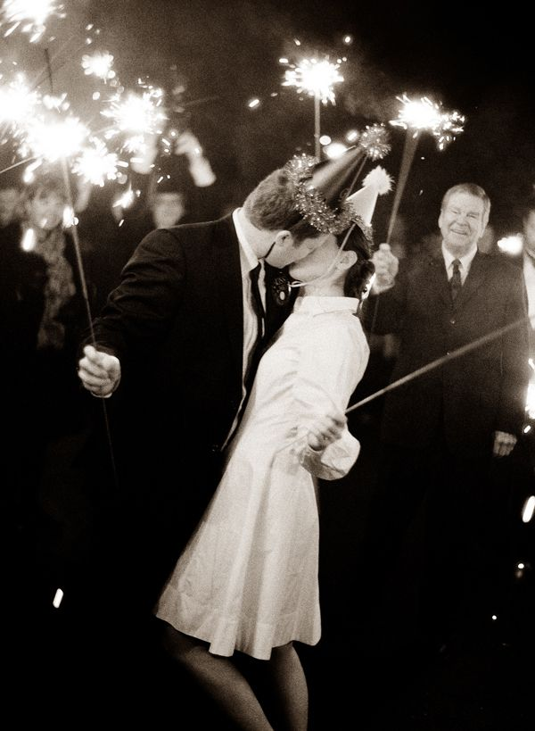 End the party with a sparkler send-off.    Kellee Khalil: How To Host A Glamourous New Year's Eve Wedding: