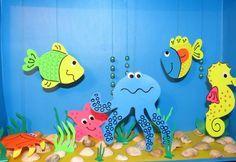 Бумажный аквариум с рыбками. Дети мастерят. Детям.