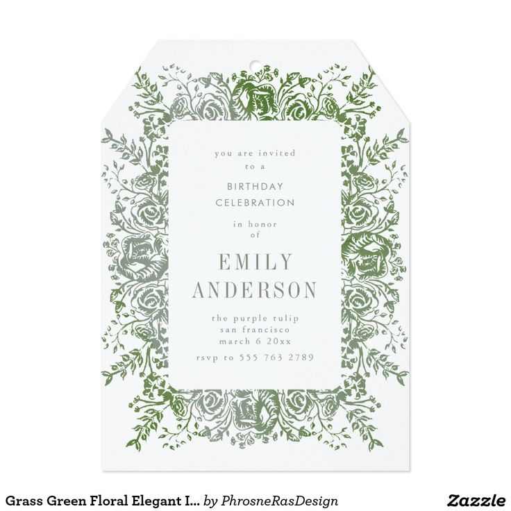 Grass Green Floral Elegant Invitation #zazzle #invitation #stationery #tabletop #flowers #floral #organic #original #illustration #designer #suite #elegant #stylish #phrosneras #phrosnerasdesign #calligraphy