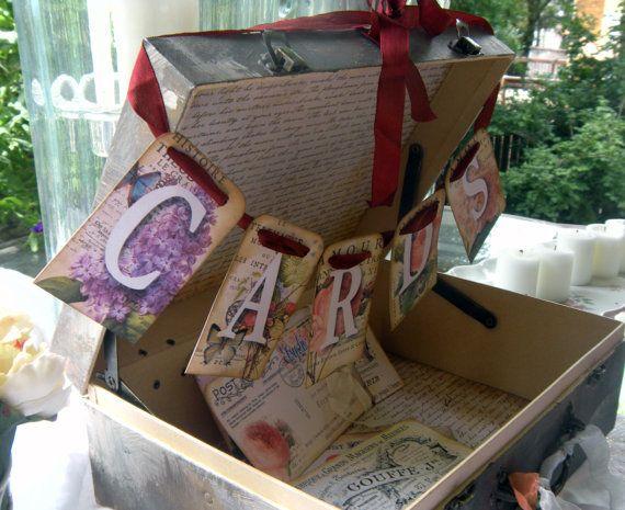 MINI Wedding Card Suitcase in Shabby chic by shabbyweddingbooks, $45.00