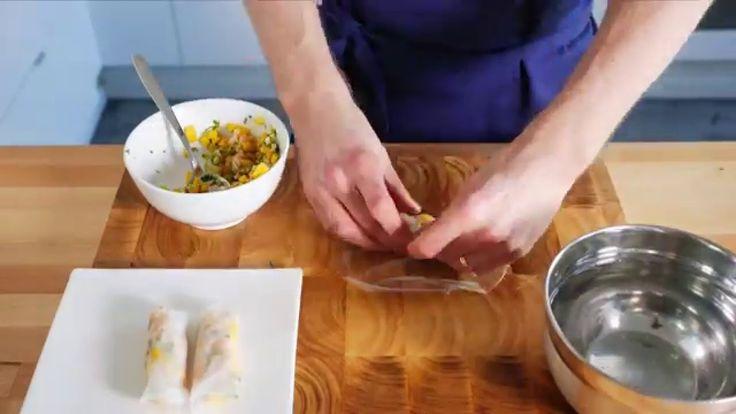 Ferske vårruller med laks og mango