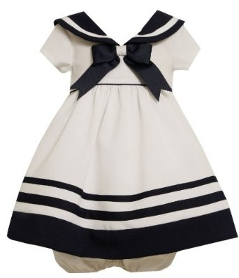 Amazon.com: Bonnie Baby-Girls Infant Nautical Dress With Navy Trim: Clothing