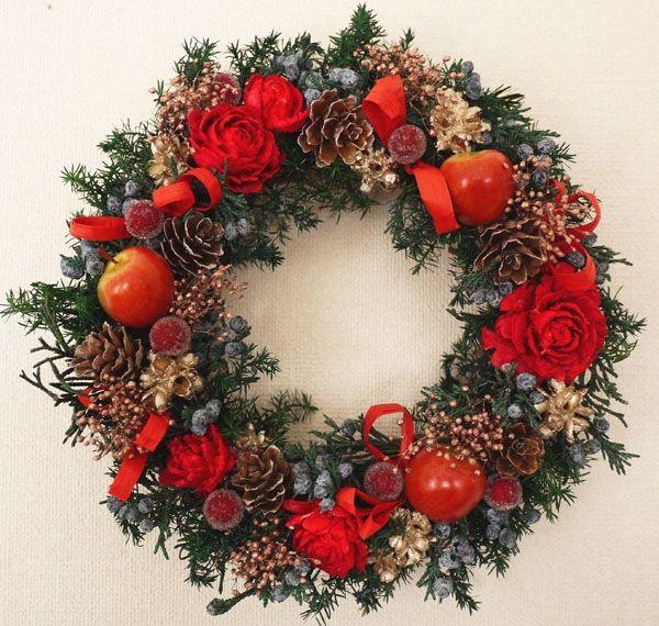 りんご赤のクリスマスリース画像1