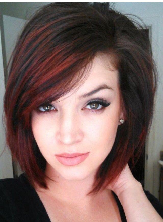 Shoulder length hair w/ red highlights