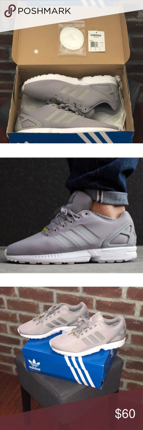 Adidas ZX Flux adidas unveils a new solid grey and white rendition to its popular ZX Flux model. Sporting a gray mesh-lined upper with a complementing gray heel cage and laces, the latest adidas ZX flux iteration features a contrasting white midsole, which is fitted with the brand's signature lightweight cushioning. Minimal branding adds to the refined aesthetic as a gray, contoured outsole finishes the classic runner silhouette. adidas Shoes Athletic Shoes