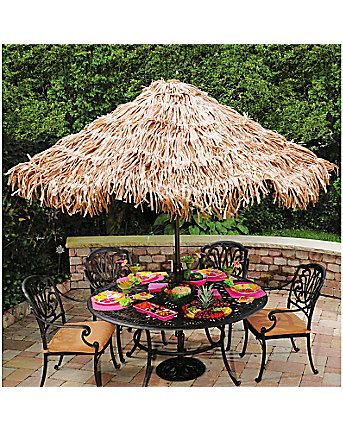 Turn any patio umbrella into a tiki umbrella with this cover for you summer luau party!