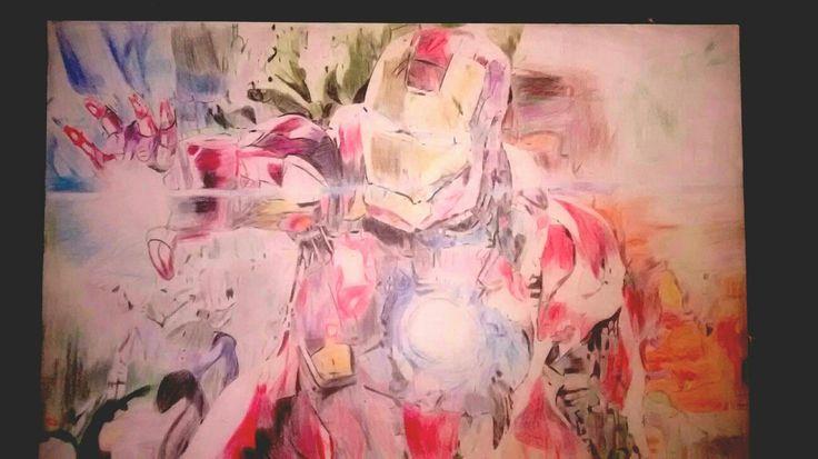 Dibujo hecho a lápices de color de Iron Man