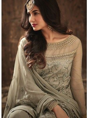 29ff36ad26 Greyish Bling With Glorious Golden Embroidered With Full Flared Designer  Gharara Palazzo Suit Set