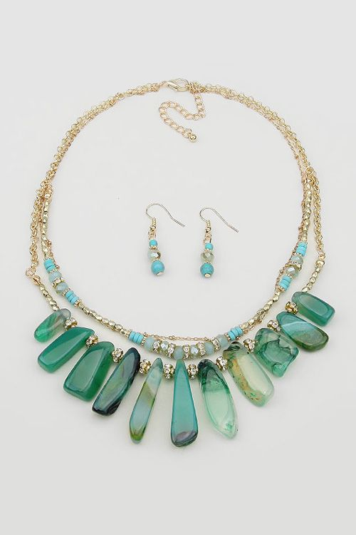 Misha Necklace in Emerald Agate on Emma Stine Limited
