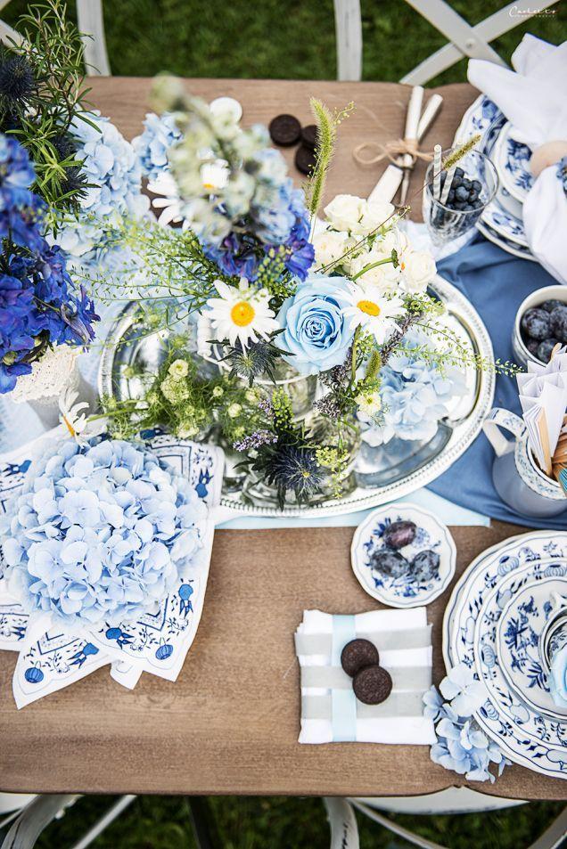 Tischdeko In Der Farbe Blau Hoppy Wedding Dream Wedding Und