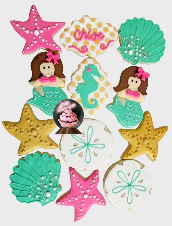 mermaid cookies girl birthday cookie girl custom cookies mermaid theme party seahorse cookies starfish party favor seashell party favor seashell cookies birthday favor girls mermaid party ideas girl birthday ideas mermaid shower theme under the sea ideas www.thesugarclub.etsy.com