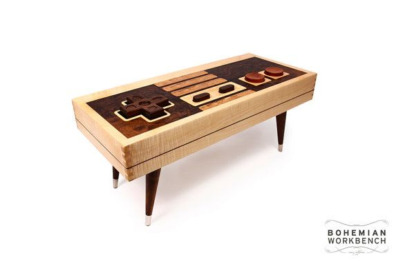 8-bit retro gaming controller coffee table. Made from maple, mahogany and walnut with dovetail joinery and mid century modern legs. This table