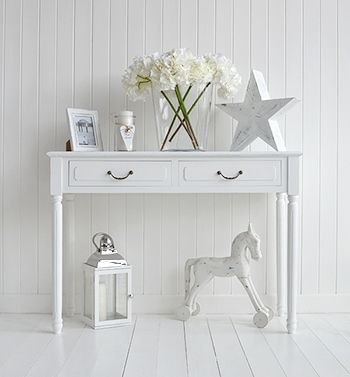 New England style home decor. Furniture and accessories to style your home. Ideas in decorating. All available online. The Provence white console table