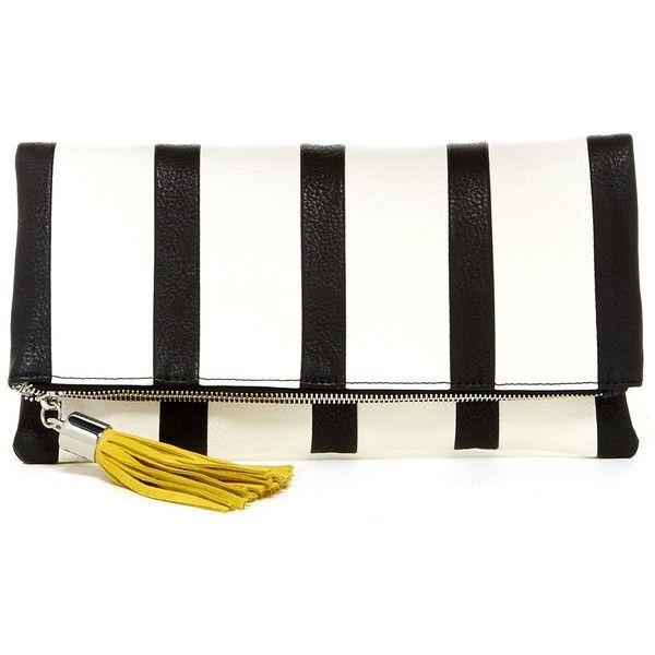 Steve Madden Sashaa Stripe Clutch ($30) ❤ liked on Polyvore featuring bags, handbags, clutches, stripe handbag, tassel purse, pocket purse, white handbags and steve madden handbags