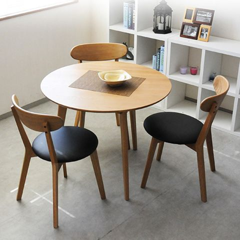 Nordic small apartment oak wood dining table dinette combination of modern minimalist Japanese-style round dining table + Chair