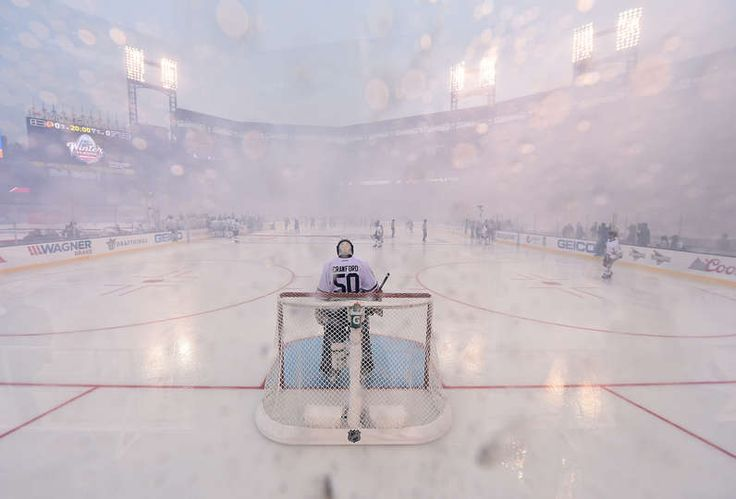 ST LOUIS, MO - JANUARY 02: Corey Crawford #50 of the Chicago Blackhawks stands in goal prior to the start of the 2017 Bridgestone NHL Winter Classic against the St. Louis Blues at Busch Stadium on January 2, 2017 in St Louis, Missouri. (Photo by Brian Babineau/NHLI via Getty Images)