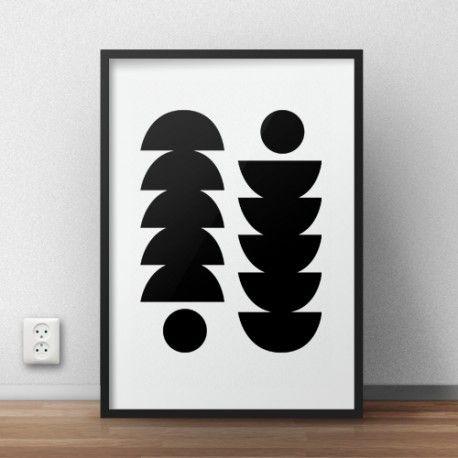 Skandynawski plakat przedstawiające symetryczne wzory