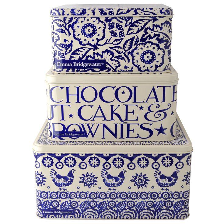 Blue Hen & Border Set of 3 Square Cake tins