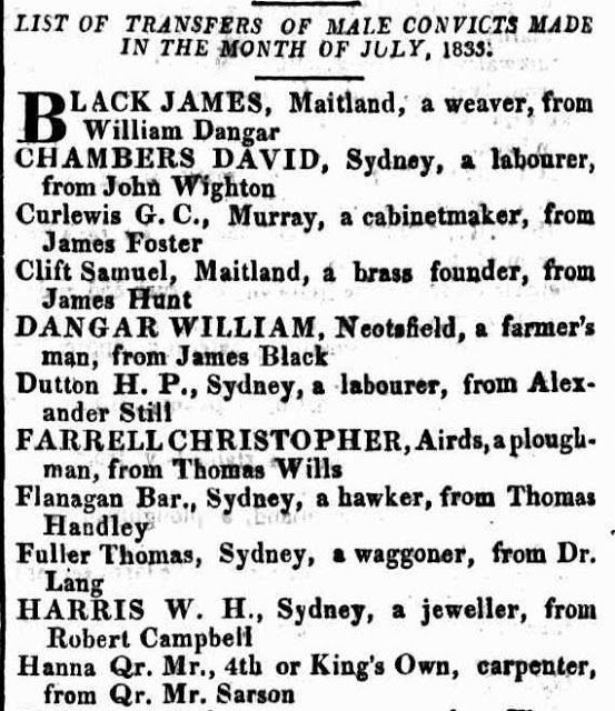 NSW Settler List of Transfers of Male Convicts (by Occupation) To and From, Made in the Month of July, 1833