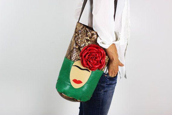 Frida Leather Bag/Large Leather Bucket Bag/Brown by NeroliHandbags