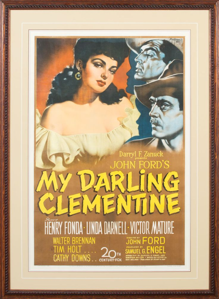 """""""My Darling Clementine"""" Original Lithograph Movie Poster  Movie Poster for the 1946 American Western film """"My Darling Clementine"""", starring  Henry Fonda as Wyatt Earp. The ensemble cast also features Linda Darnell, Victor Mature, Walter Brennan, Tim Holt, and Ward Bond. 41"""" x 27"""" full sheet poster, framed to 51"""" x 37"""". Copyright 1946.  Provenance: From the Estate of Snuff Garrett.  Will be offered at auction in Fort Worth, TX on 6/10/17"""