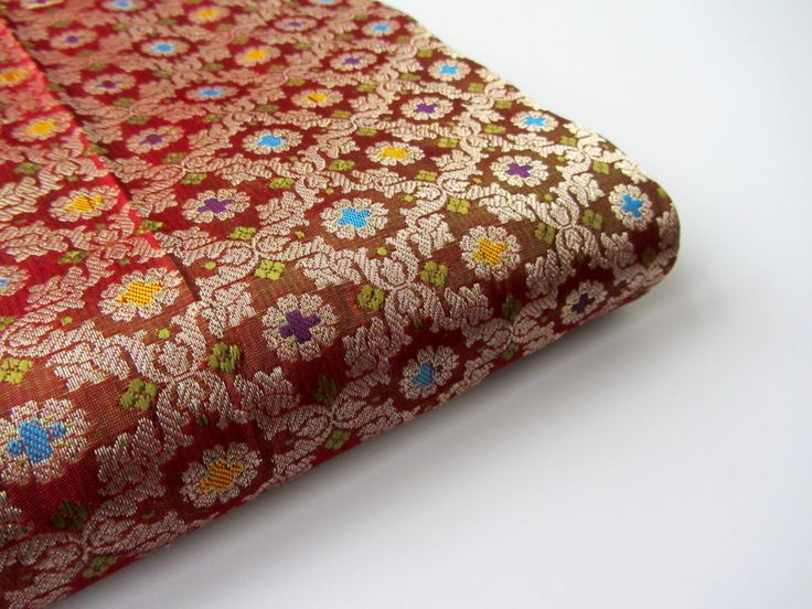 Red multicolor crosses blue flowers silk brocade India - for 1/4 yard | fat quarter - fabric nr 655 by SilksByUmf on Etsy