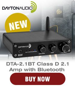 NEW Dayton Audio DTA-2.1BT 100W Class D 2.1 Amplifier with Bluetooth and Power Supply