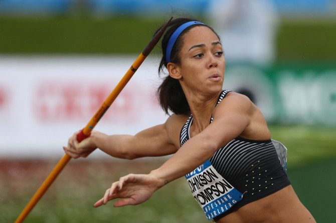 Katarina Johnson-Thompson of Great Britain in action in the Women's Heptathlon javelin during the Hypomeeting Gotzis 2016 at the Mosle Stadiom on May 29, 2016 in Gotzis, Austria.