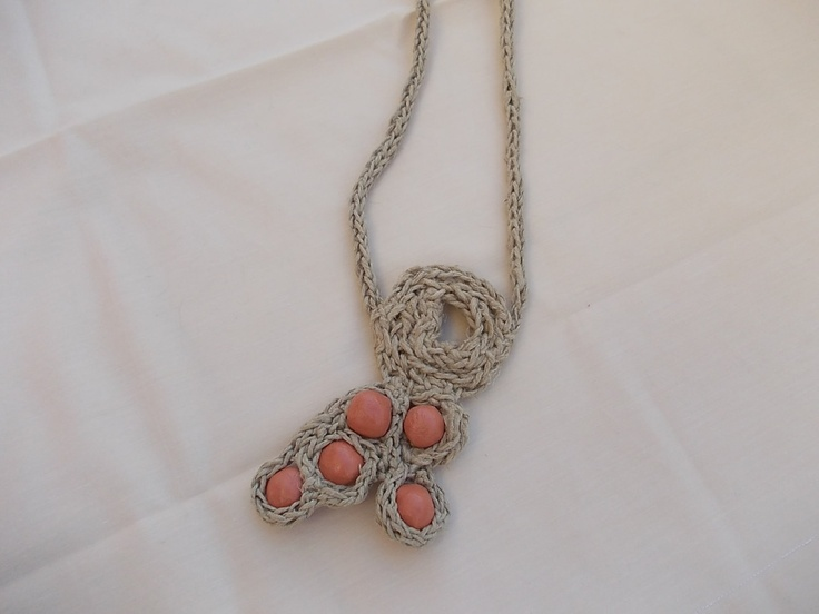 Long necklace from natural string and handmade terracotta beads. €26.00, via Etsy.