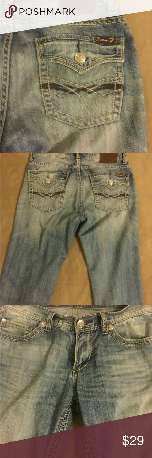 MENS Seven jeans 34 Great jeans for going out or casual wear. These were worn a few times only. They're super cool with a little worn look (white washed) to them. Grab em before they're gone! 34. No stains nothing Seven7 Jeans Straight