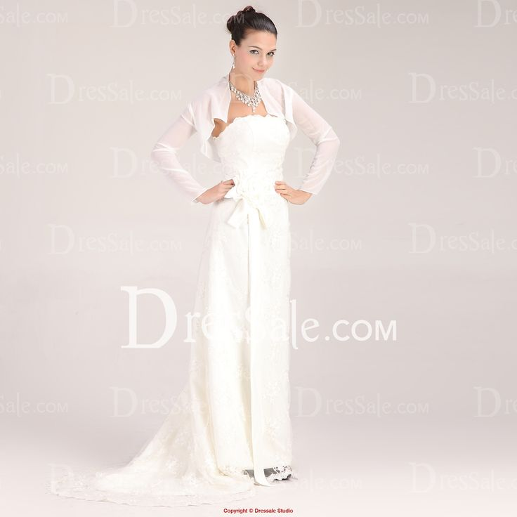 This white chiffon jacket with long poet sleeves is custom made for the brides. In order to exude your beauty gracefully, this white chiffon jacket in delicate clipping is easy to mix and match with various kinds of wedding dresses in different styles.
