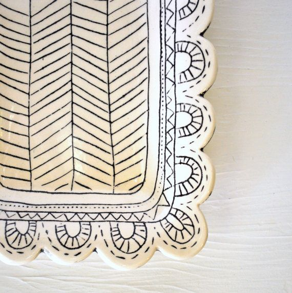 How pretty would this platter be delivering piles of cookies? #etsy #etsyfinds