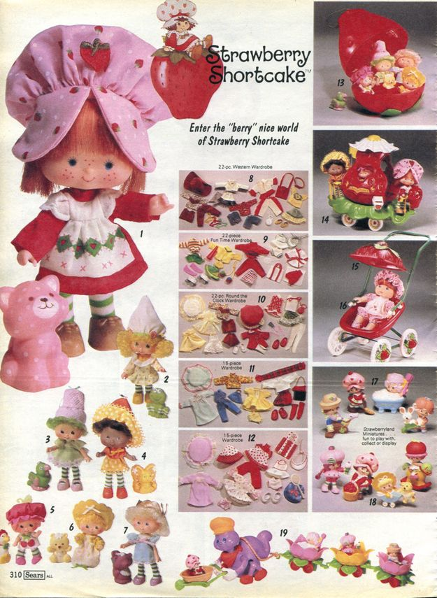 Strawberry Shortcake | The 10 Absolute Best Girl Toy Lines Of The '80s- I'm willing to bet that I have every piece in this picture stored in my basement!